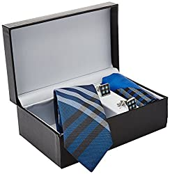 Tossido Men's Synthetic Tie Set (RSTS29_Blue)