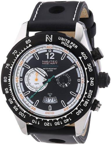 Nautec No Limit Indianapolis IP QZ/LTIPBKBK - Reloj cronógrafo de cuarzo para hombre, correa de cuero color negro (cronómetro)
