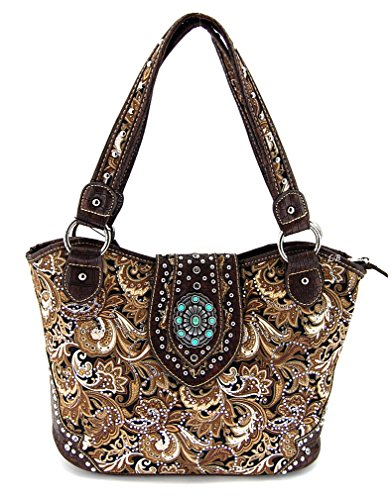 Montana West Concho Collection Purse, Paisley Pattern, NEW (Brown)