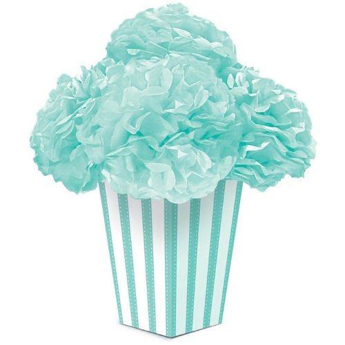 "Amscan Lovely Fluffy Flower Party Centerpiece, 11 x 10.5"", Robin's Egg Blue"