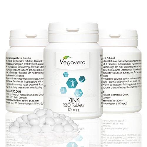 ZINCO compresse 15 mg 3 x 120 pz. Di alovo, in dosi elevate, contribuisce alla normale funzione del sistema immunitario, l'equilibrio acido-base, grassi e carboidrati alla normale funzione cognitiva e la fertilità normale, vegan, 3 x 120 compresse di qualità dalla Germania