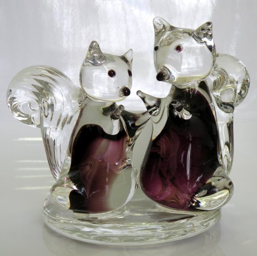 100% Handcrafted Glass Squirrels and Glass Jar Candle Holder,4.25″ D x 5.75″ H and Jar Size 2″ x2″, The Most Attractive Squirrels Glass Artworks with Glass Jar at 2″ x 2″
