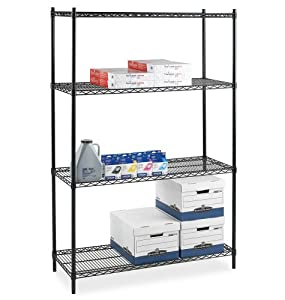 Lorell Starter Shelving Unit, 4 Shelves/4 Posts, 36 by 24 by 72-Inch, Black