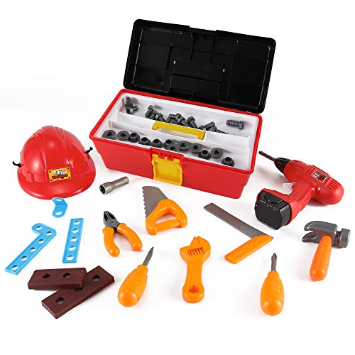 My Workshop Construction Tool Box Toy Set for Kids with Hard Hat + 40 Pcs Pretend Play Tools and Accessories (Kid Tool Set With Toolbox compare prices)