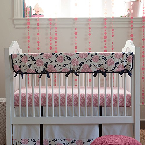 Carousel Designs Coral And Navy Floral Crib Rail Cover