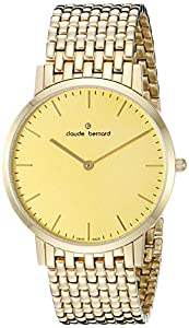 Claude Bernard Men's 20202 37JM DI Gents Slim Line Analog Display Swiss Quartz Gold Watch