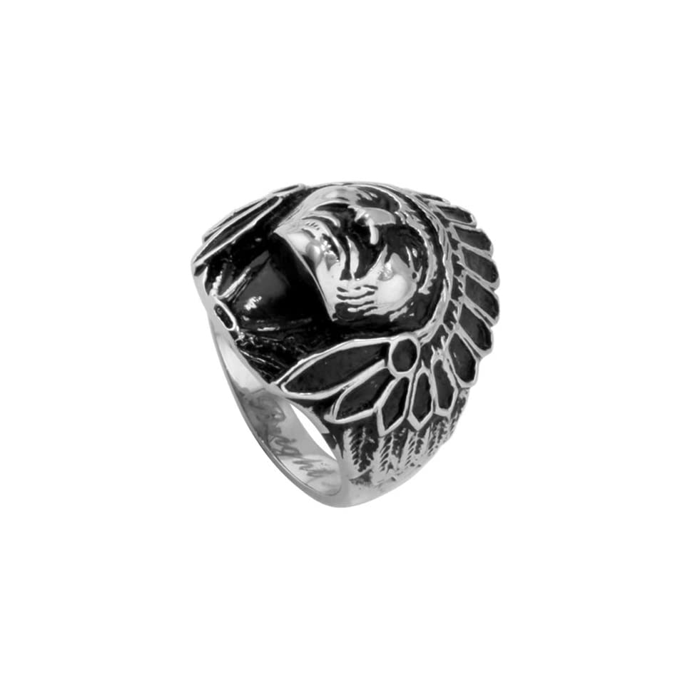 316L Stainless Steel Indian Head Biker Ring   Size 13 Jewelry