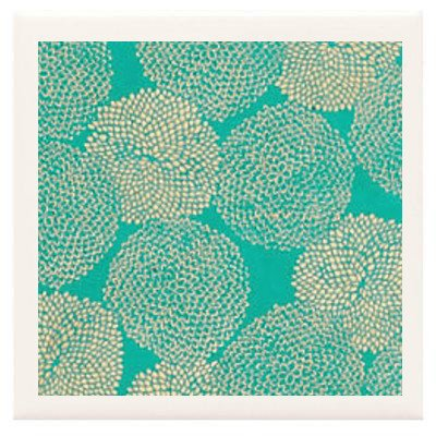 Hand Made Coasters [Set Of 4] - Stylish Gold Mums On Sea Green From Our Modern Floral Art Design Collection - A Stylish And Chic Way To Add A Unique Special Personal Touch To Your Decor - Great For A Gift - Crafted By Hand Of Ceramic Tile, Hand Made Paper front-527660