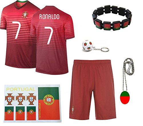 iSport Gifts® Portugal Home Ronaldo #7 Kids Soccer Jersey and Soccer Shorts 6 IN 1 SOCCER FAN GIFT KIT Youth Sizes YS / YM / YL (Youth Small 6-8 Years Old, Ronaldo #7 Home) (Cristiano Ronaldo Number And Name compare prices)