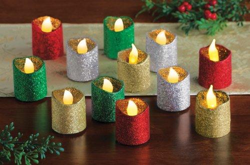 Led Holiday Glitter Tealights - Set Of 12
