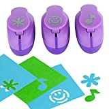 Paper Punch Hole Puncher -- (3 PACK Musical Note Snow Flake Happy Face) -- Personalized Paper Craft Punchers Shapes Set -- For Scrapbook Engraving Kids Artwork -- Greeting Card Making DIY Crafts