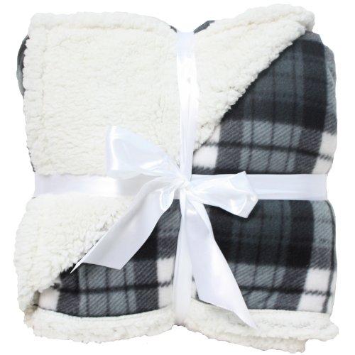 J & M Home Fashions Winter Plaid Sherpa Fleece Blanket, 50 By 60-Inch, Gray