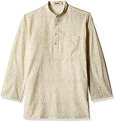 Fabindia Men's Mid-Thigh Cotton Kurta  (10423665_42_Natural and Gold)