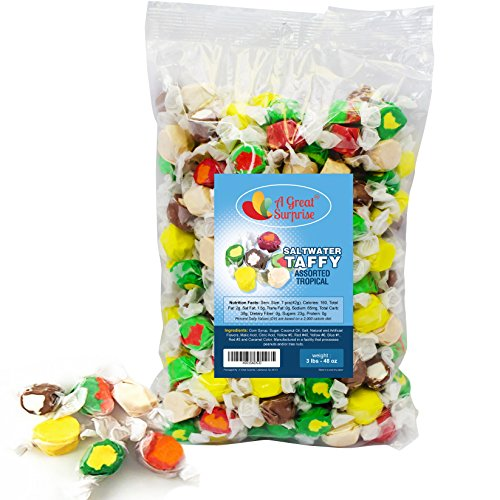 Salt Water Taffy 6 Assorted Gourmet Tropical Flavors, 3 LB Bulk Candy (Salt Water Taffy Gift Box compare prices)
