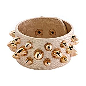 Pugster Stainless Steel Studded Clear White Leather Cuff Bracelet