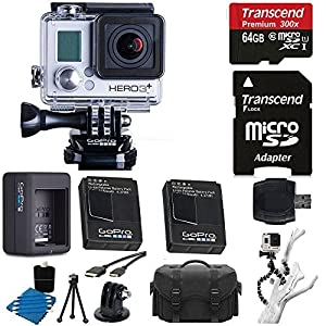 GGoPro HERO3+ Silver Edition Camera HD Camcorder + Extra GoPro Rechargeable Battery GoPro Dual Battery Charge + 6 FT HDMI Cable + Gripster III Flexible With 64GB MicroSDXC Class10 And Much More Complete Deluxe Accessory Bundle