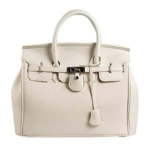 Hot Designer Padlock Satchel Handbag Tote Bag Purse Off White