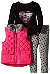 Calvin Klein Little Girls\' Quilted Vest with Tee and Pants, Pink, 5