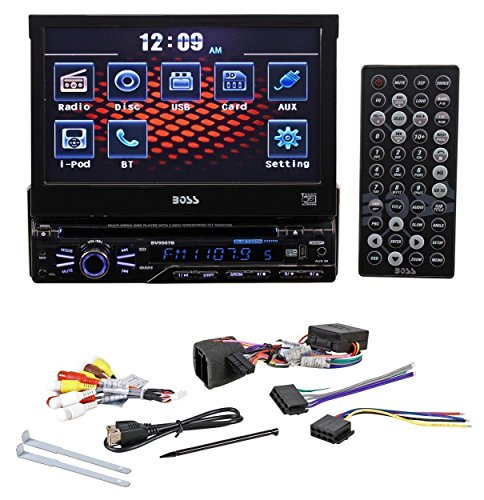 "Boss In-Dash 7"" Touchscreen TFT-LCD Car Flip-Up Monitor with Bluetooth, Front Mini-USB and 3.5mm Aux Input"