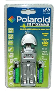 Polaroid USB Stick Battery Charger with Batteries