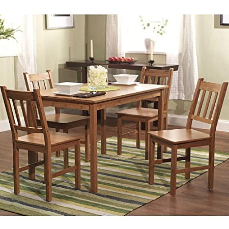 5 Piece Dining Kitchen Table and Chair Set in Solid Eco Friendly Bamboo Wood. This Furniture Set Looks Great and Unique with Any Decor in Your Home, Cabin, or Cottage.