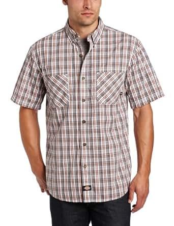 Dickies Men's Short Sleeve Plaid Button Down Shirt, Barn Red/Rainstorm, 3X