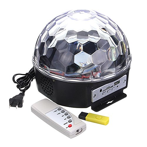 6W Rgb Led Mp3 Crystal Magic Ball Stage Effect Light Club Party Lamp