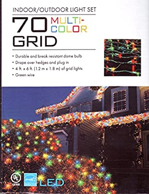 70 Grid Multicolor Christmas Holiday House or Net Lights