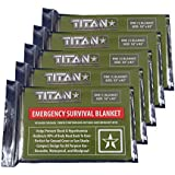 "TITAN Survival Blankets (5-Pack), Military Green, 52"" x 82"" - Designed for NASA Space Exploration. Aluminized Mylar Emergency Thermal Blankets are Perfect for Backpacking, Emergency Kits, and Go-Bags."