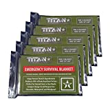 "TITAN Survival Blankets (5-Pack), Military Green / Olive Drab, 52"" x 82"" - Designed for NASA Space Exploration and Heat Retention. Aluminized Mylar Emergency Thermal Blankets are Perfect for Backpacking, Emergency Kits, and Heavy Duty Go-Bags."