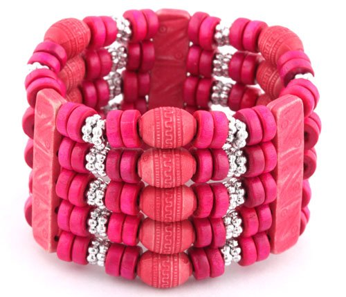 Ladies Fuchsia 5 Row Spacers & Bars Style Wooden Beaded Stretch Bracelet