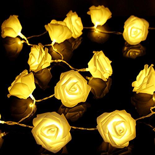 KingSo 20 LED Battery Operated Rose Flower String Lights Wedding Garden Christmas Decor (Warm ...
