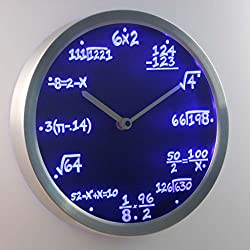 Lightinthebox nc0461 Math Class Algebra Formula Mathematics Teacher gift Neon LED Wall Clock Home Decor Design Wall Clocks Color=Blue
