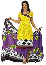 Kamal Women's Cotton Yellow Printed Dress Material