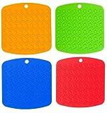 Silicone Pot Holder, Trivet Mat, Non-Slip Hot Pads, and Garlic Peeler, Set of 4, Asst Colors