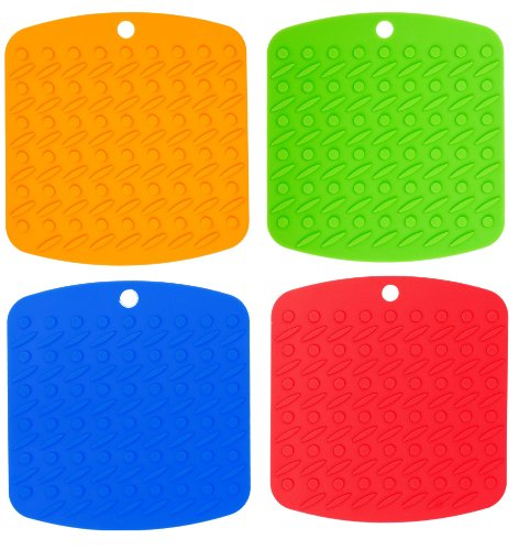 Silicone Pot Holder, Trivet, and Garlic Peeler (Set of 4, Assorted Colors) Hot Pads Trivet Mats – Non Slip, Flexible, Durable, Heat Resistant – Dishwasher Safe Essential Kitchen Cooking & Baking Gadget