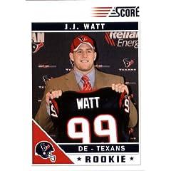 2011 Score Football Card # 340 J.J. Watt RC - Houston Texans (RC - Rookie Card) NFL... by SCORE