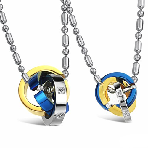 Opk Jewellery Necklaces Stainless Steel Neckwear Chains 3 Ring Together Blue Pendants Necklets For Men And Women