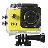 Veezy Cam 12MP Full HD 1080P Bicycle Helmet Sports DV Action Waterproof Car Camera (Yellow) with Veezy NFC Tag