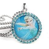 Jeweled Girls Frozen Princess Elsa Pendant with Necklace