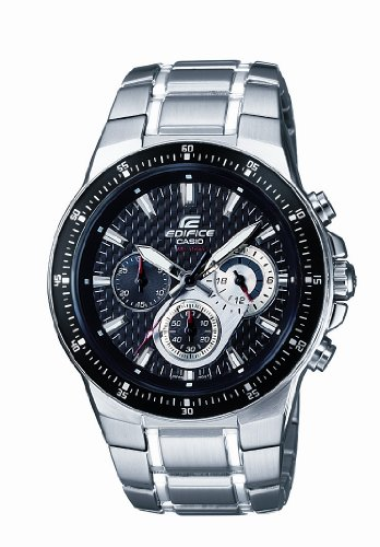 Casio EF-552D-1AVEF Men's Analog Quartz Watch with Black Dial, Chronograph and Stainless Steel Bracelet