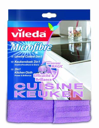 Vileda  126585 Microfaser Küchentuch 2in1- Ultra Reinigungspower Selbst bei Verkrustungen, Festgetretenem und Angebranntem, 3er Pack