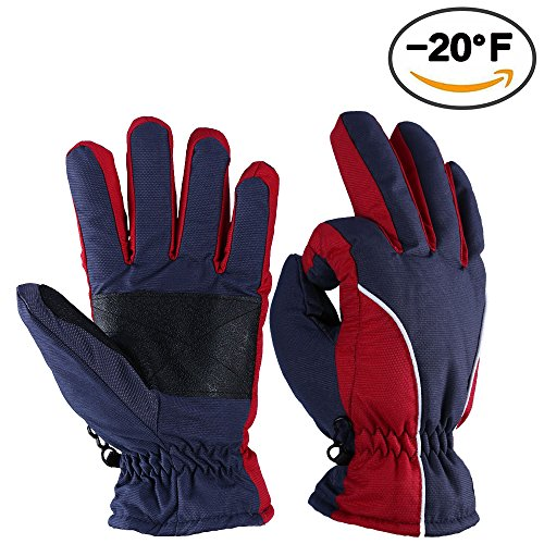 OZERO Winter cold-resistant Ski Gloves Warm for Riding (Red, Large)