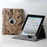 TCD iPad 2 3 4 Tan Fancy Rotating Black Flower PU Leather Case Cover