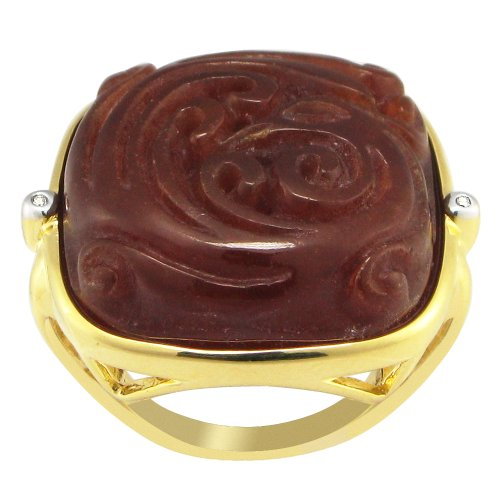 18k Gold Over Sterling Silver Carved Red Jade with Cubic Zirconia Accents Ring, Size 7