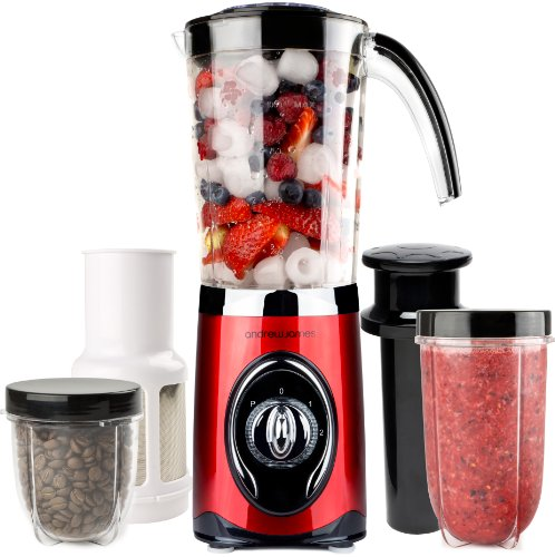 Andrew James Red 4 in 1 Multifunctional 1 Litre Smoothie Maker