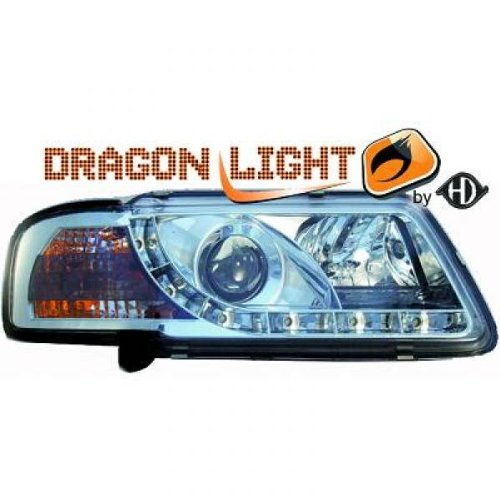 phares à LED diurnes, Dragon Lights, chrome AUDI A3 de 1996 à 2000 chrome DRAGON LIGHTS pour réglage électrique H1+H1