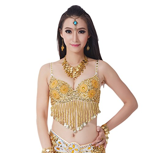 AveryDance Belly Dance Sequin Beaded Rhinestone Coins 34C Bra Top Costume