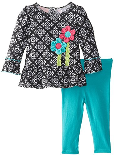 Kids Headquarters Baby-Girls Infant 2 Pieces Tunic And Legging With Flowers, Multi, 12 Months front-939361