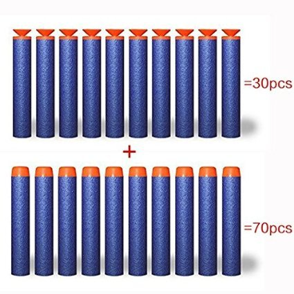 dolaimi-100-pack-72cm-foam-refill-bullet-darts-for-kids-nerf-guns-blue-30-pieces-universal-suction-c